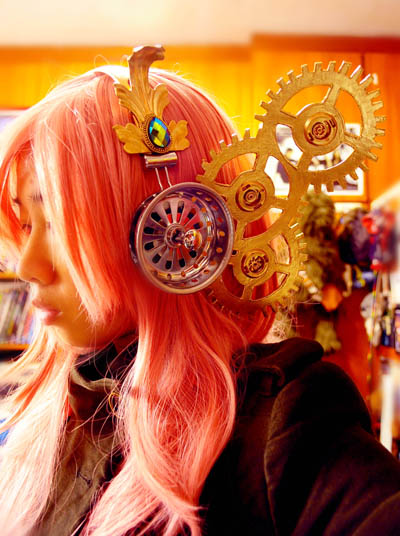 steampunk headphones, vocaloid steampunk, steampunk vocaloid headphones, steampunk luka, megurine luka steampunk, steampunk vocaloids, steampunk, headphones, cosplay, vocaloid cosplay