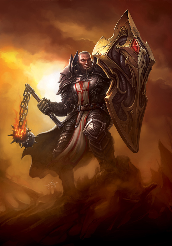 István Dányi's crusader, which was featured on the Blizzard site, became the inspiration for our shield project.