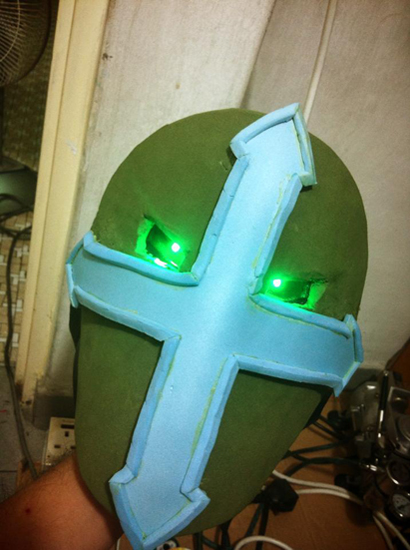 To simulate MidKnight's eye glow, we incorporated LEDs into the helmet.