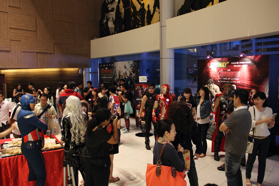 Superfans and cosplayers mingled at the event area just before the screening.